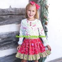 Christmas Long feather cotton manufacturing 2016 wholesale cute dog print clothes childrens designer boutique dress
