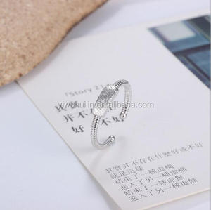 YFY1114 Yiwu Huilin Jewelry Blank can engraved letter open silver rings retro fashion thread finger ring