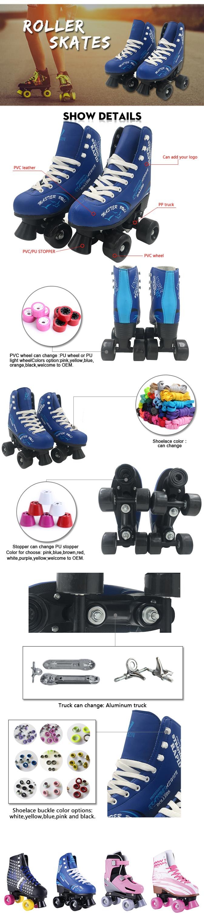 Factory price four wheel quad inline skate girls roller skates adjustable set for sale