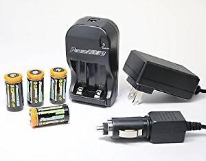 CR-123A AC Wall & 12v Car Battery Charger + 4X 1200mAh LI-ON Batteries 110/240V