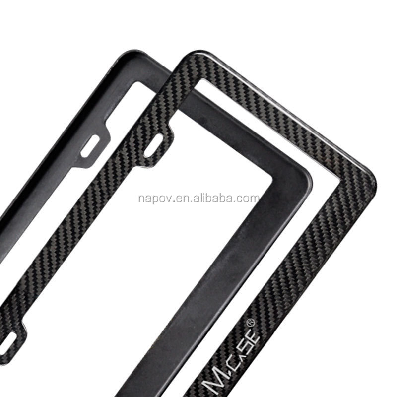 Low Quantity Wholesale American Luxury Black Real Carbon Fiber License Plate Frame