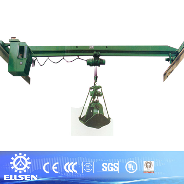 steel factory use 3ton grab bucket bridge crane
