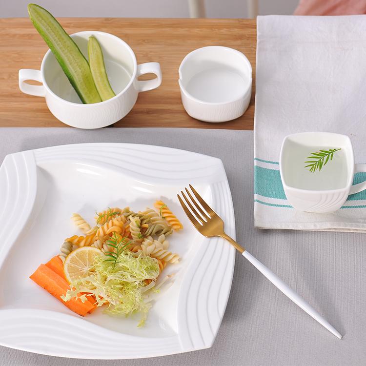 factory wholesale bone china dinner plates rectangular ceramic square plates