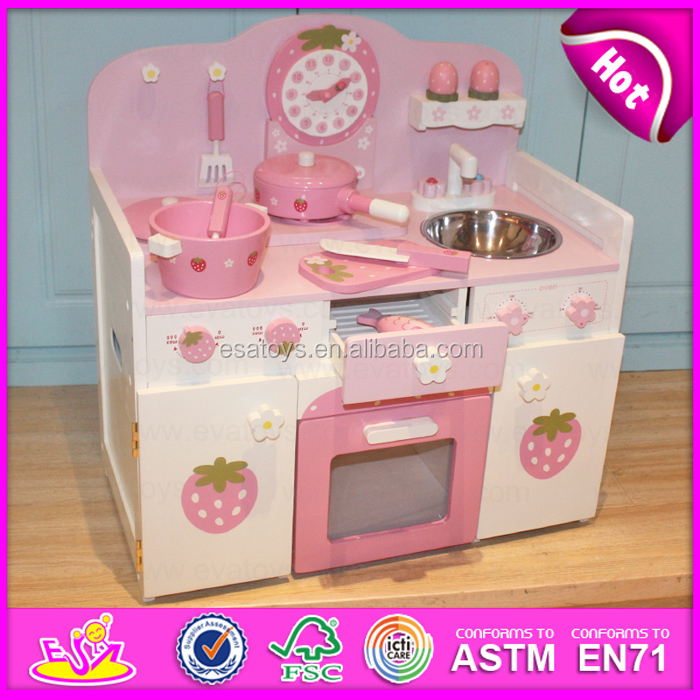 Wooden Christmas gift Kitchen Toys Play Set for toddlers,High quality wooden toy strawberry kitchen for children W10C148