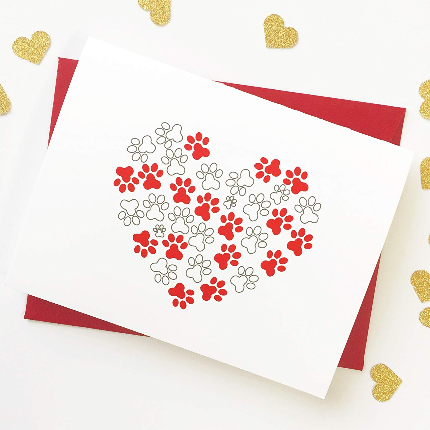 0d84441bfe691c Get Quotations · Valentine Paw Print Heart Card