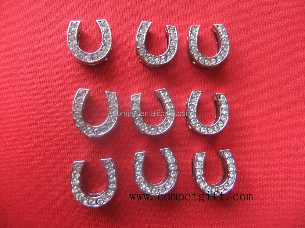 10mm slide horseshoe charm,the metal horseshoe,diamond horseshoe charm
