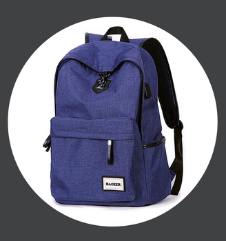 Durable Fabric Charging Backpack With Laptop Compartment,Small Grey Polyester Customize Backpack School