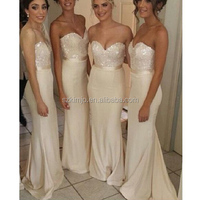 Champagne Bridesmaid Dresses Long 2018 Sequined Cheap Long Mermaid Wedding Party Dresses for Bridesmaids