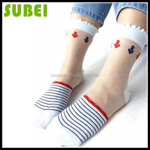 2015 Japanese female summer ultrathin striped crystal glass lacy short stockings,women anchor for the navy patterned ankle socks