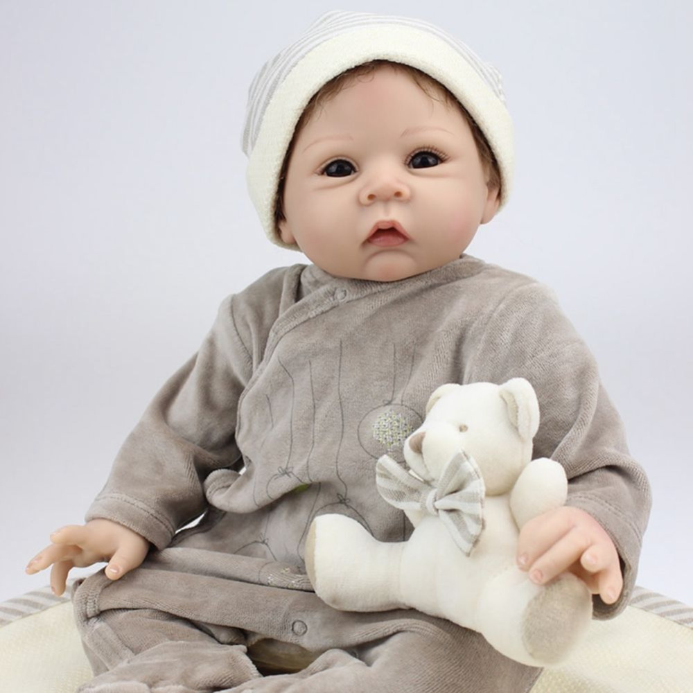 22 inch Reborn Baby Doll Silicone Newborn Boy Alive Simulation Collectible Kids Toys Gift