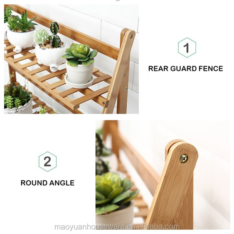 Free Standing Bamboo Wooden Foldable Flower Pot Rack For Garden - Buy  Flower Pot Rack,Standing Flower Pot Rack,Bamboo Flower Pot Rack Product on
