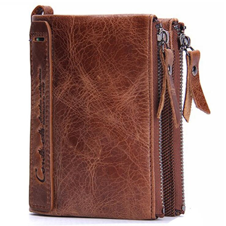Stock crazy horse genuine leather double zippers slim brown black men <strong>wallets</strong>