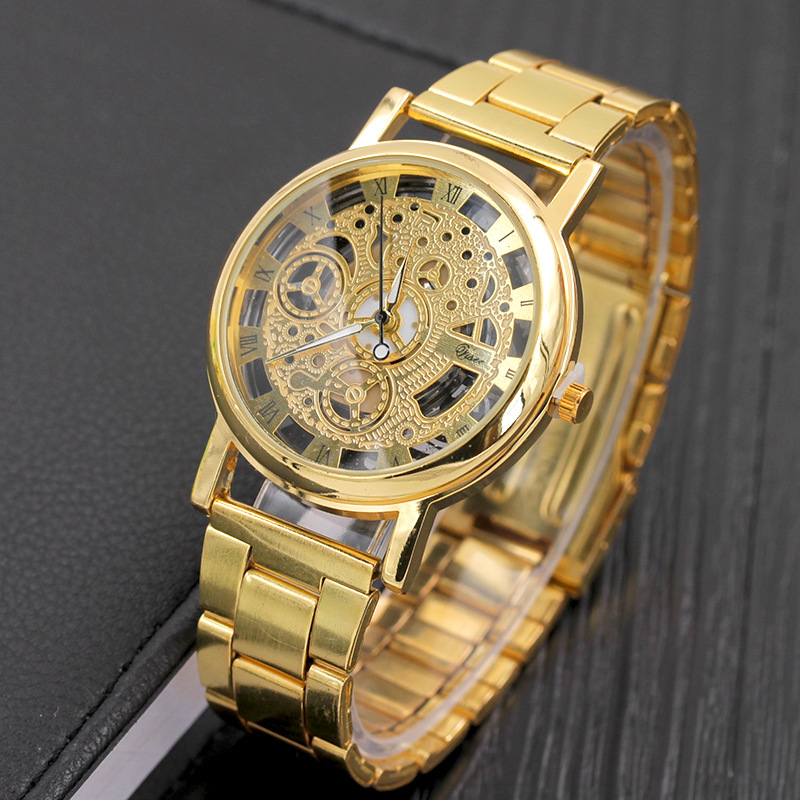 Cheap Price Gold Hollow Imitation Mechanical Watch for Men Clock