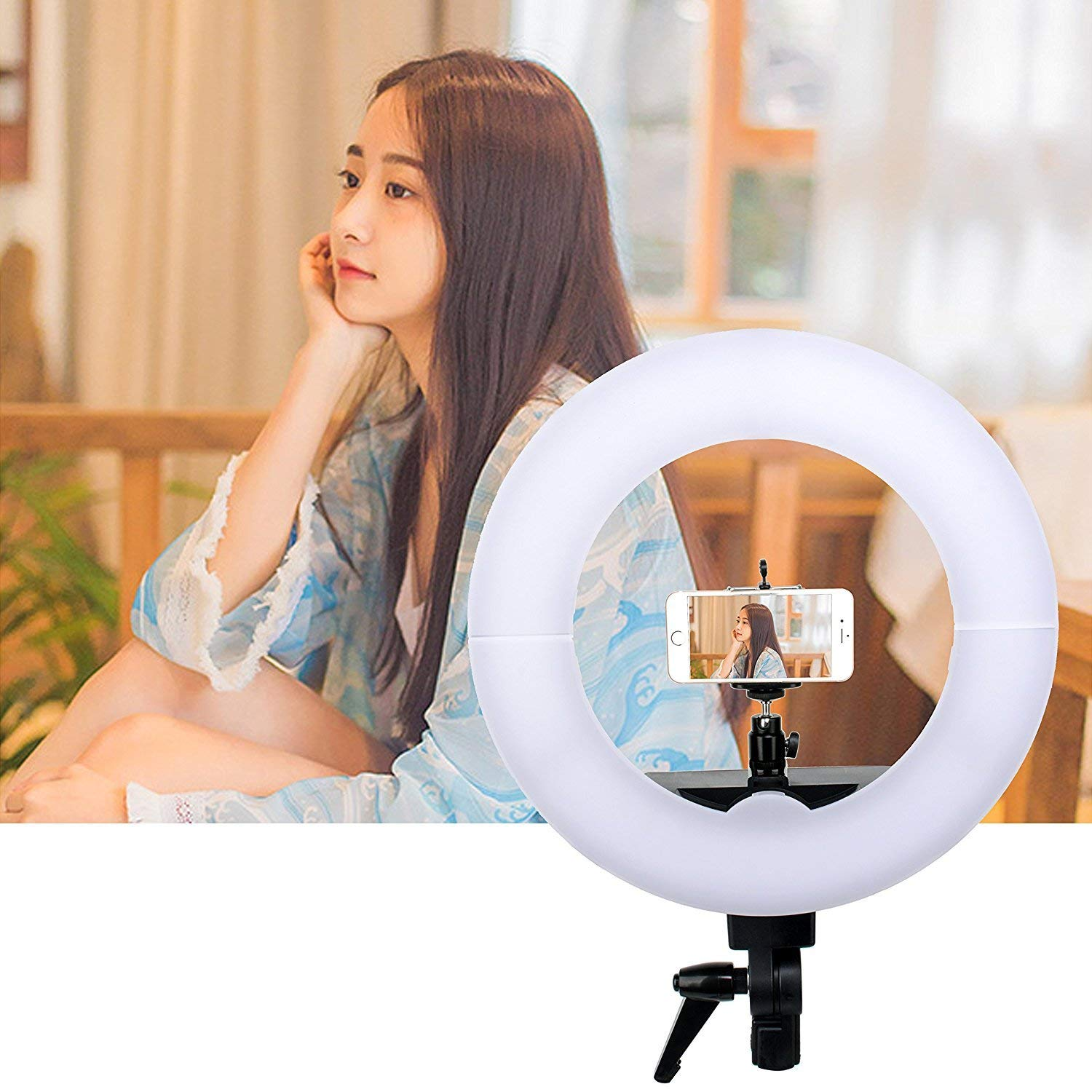 ZoMei 14'' Dimmable Flashpoint Fluorescent Camera Cellphone Ring Light Stand Used Portrait YouTube Video Shooting
