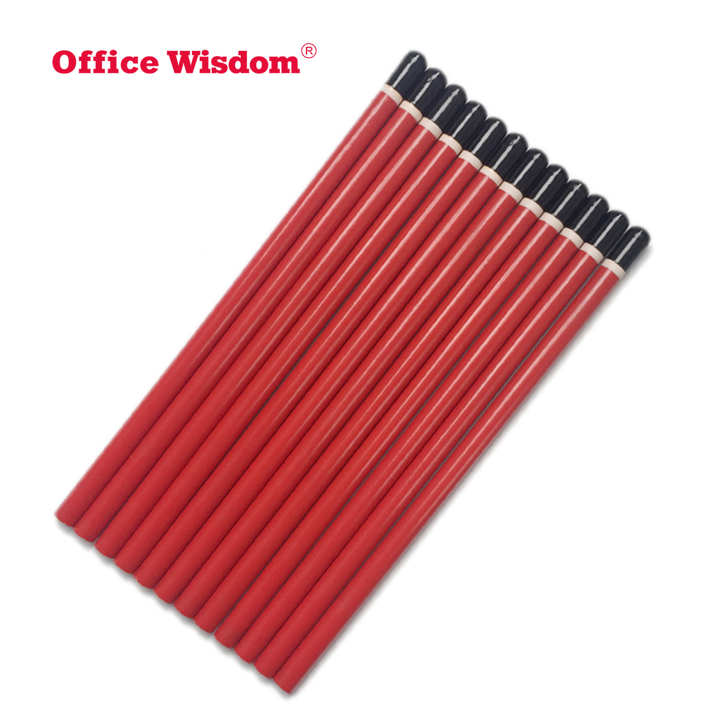 Dipped head round wood pencils Black red pencil HB hotel gift pencil custom made LOGO little MOQ best for writing