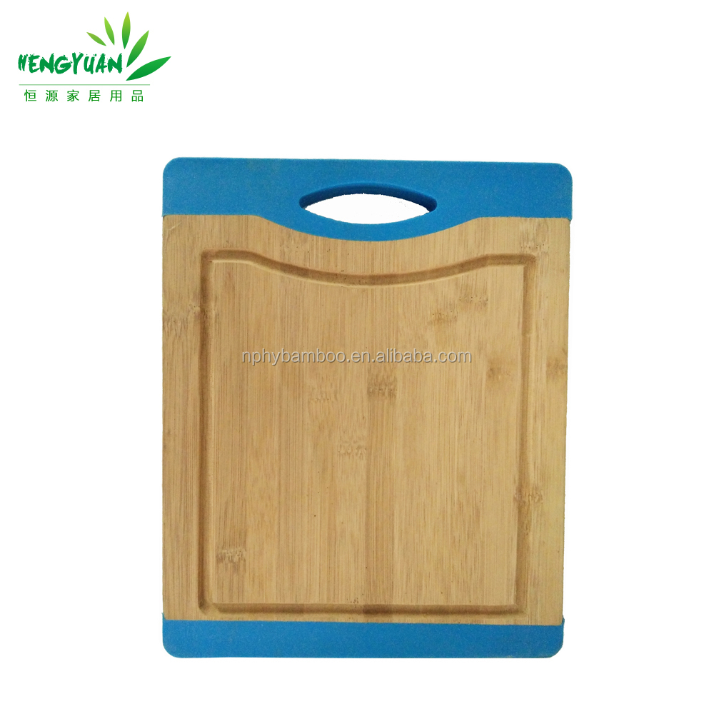 Cheap bamboo grooved cutting chopping board with silicone