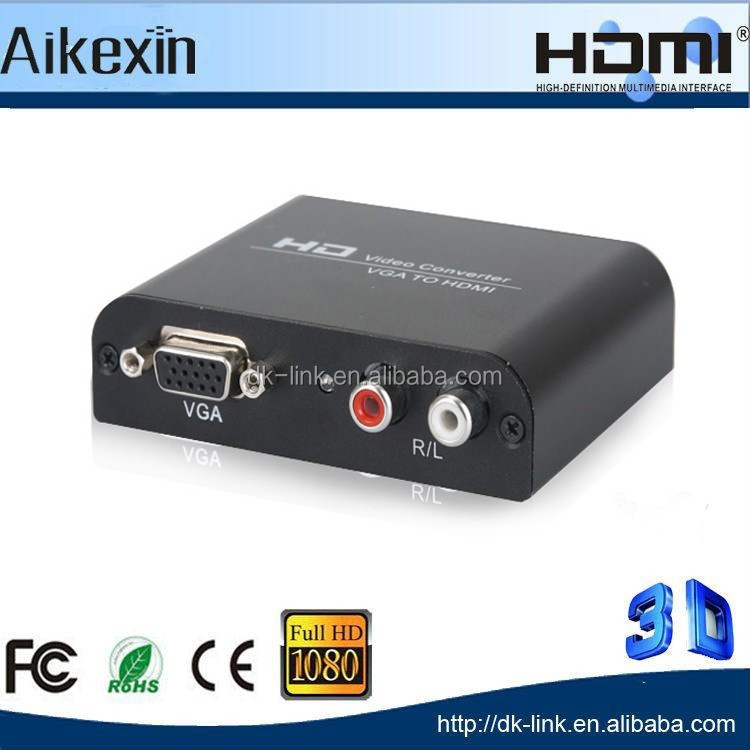 Metal Box VGA 2 HDMI , Extra VGA and R/L audio outputs,Full HD 1080p VGA to HDMI Converter with DC 5V Adapter 3D