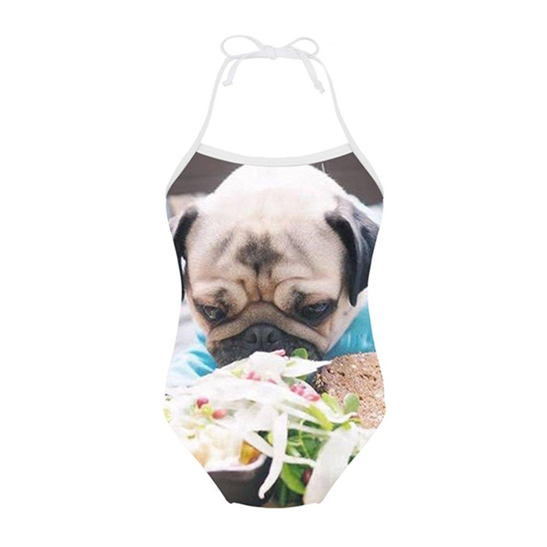 Sannovo Pomeranian Dog One Piece Animal Swimsuit for Girl Cute Bathing Suit