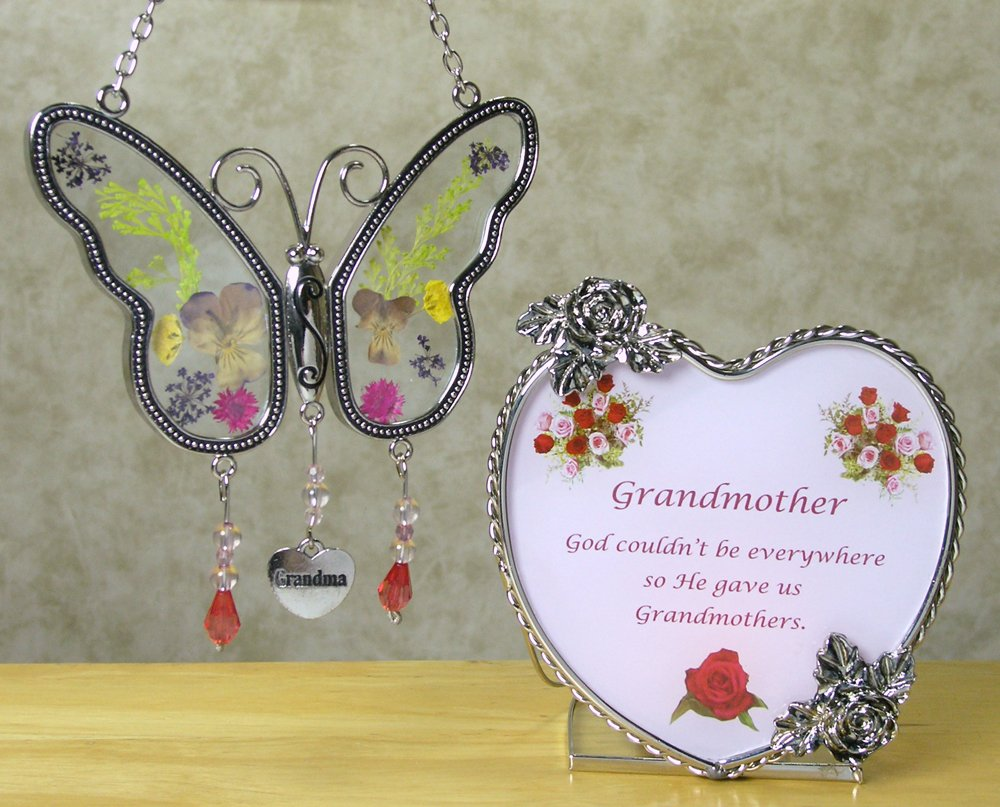 Grandma Butterfly Suncatcher & Candle Holder Gift Set - Metal & Glass - Butterfly Has Real Pressed Flowers in Wings - Hanging Charm with Grandma Engraved - Grandma to Be - Mother-in-law