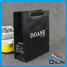 Factory Wholesale Handmade Glossy Hdpe Laminated Black Gift Apparel Packaging Paper bag