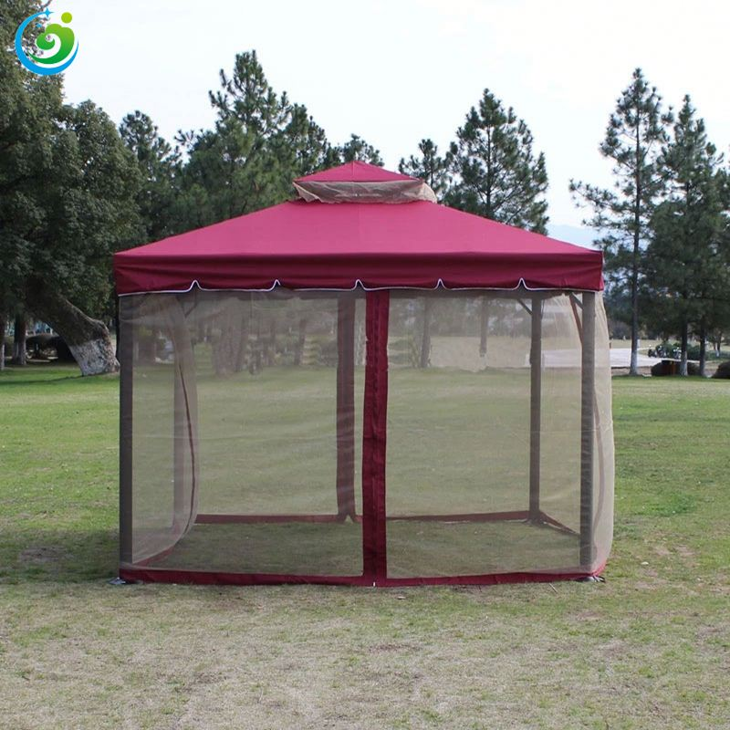 big folding gazebo with sidewall and net roman style gazebo