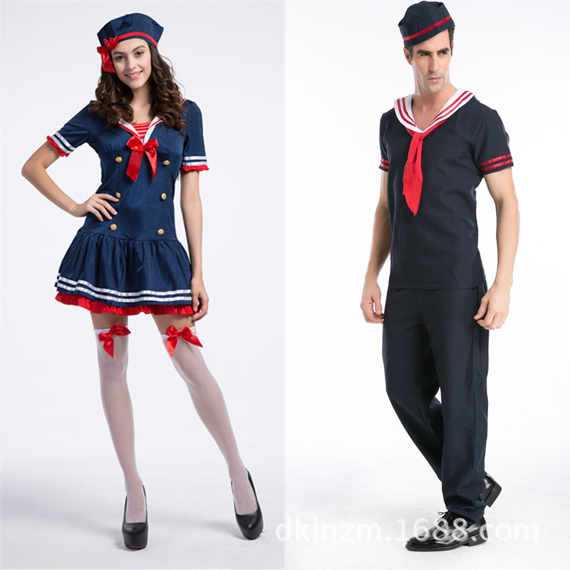 New Arrival Halloween Lovers Navy Men and Women Soldier Cosplay Costumes Stage Performance Clothing Masquerade Sailor H785