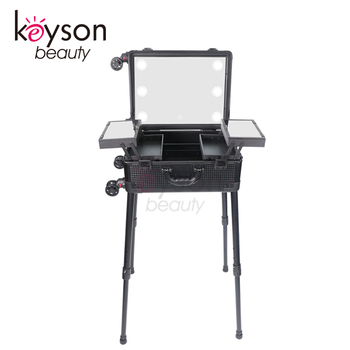 Superbe Keyson Lighting Makeup Case With Stand Portable Makeup Station Lighted  Makeup Studio