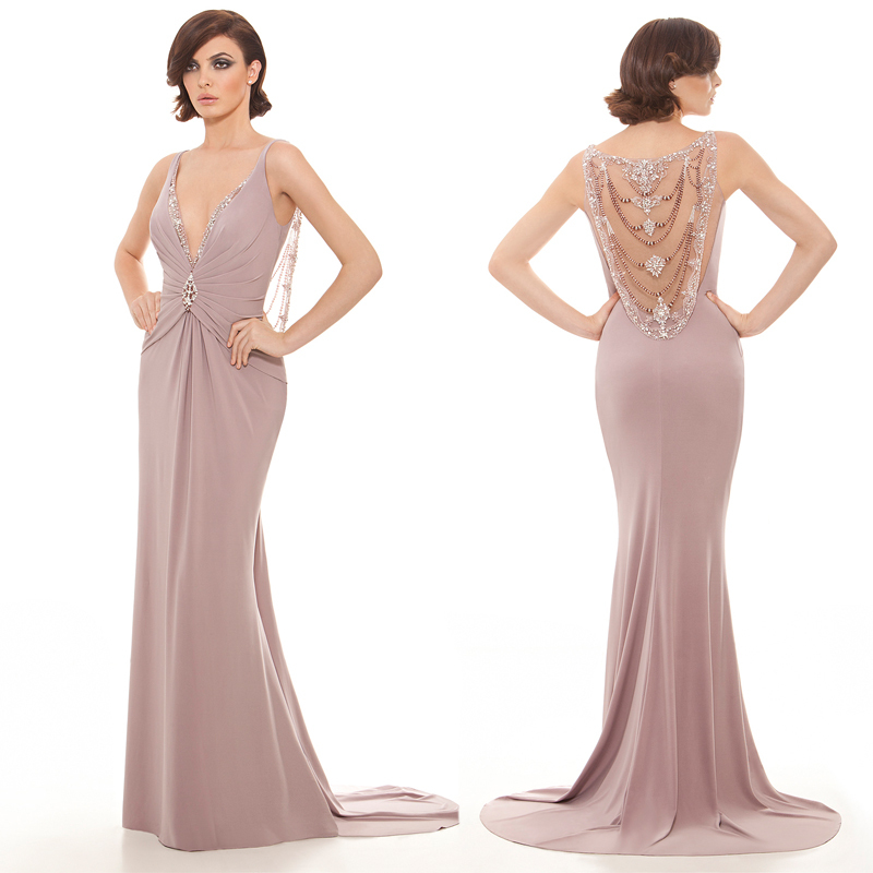 Get Quotations · Latest Deep V-Neck Sleeveless Nude Long Evening Dresses  Sexy See Through Beading Back Formal dd75afceb10e