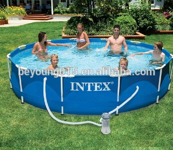 durable above ground pool Intex Metal Frame Round Swimming Pool 12ft