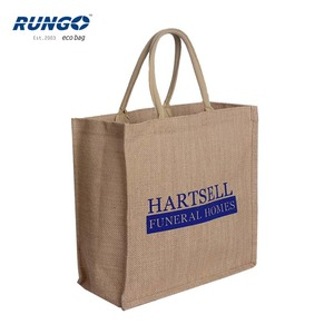 Silk screen print custom logo laminated jute shopping bags