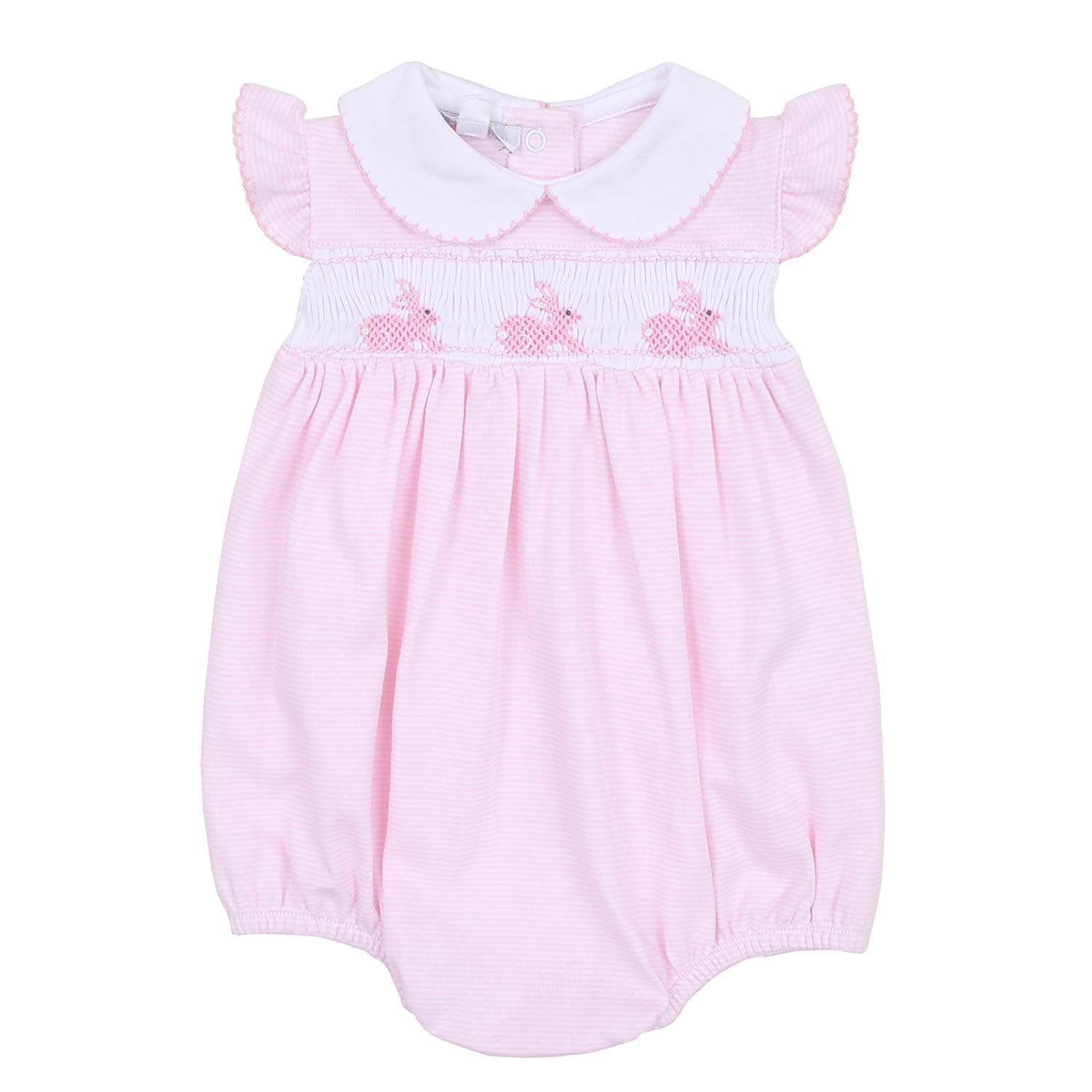 aad3f1982 Get Quotations · Magnolia Baby Baby Girl Classic Little Bunny Smocked  Collared Bubble Pink