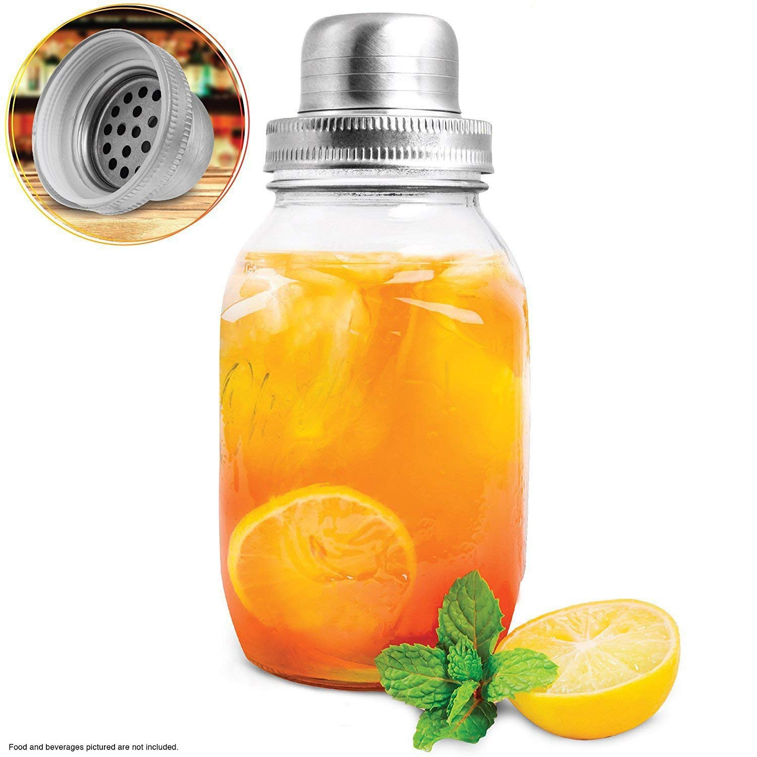 REFINERY AND CO. 32-oz. Glass Mason Jar Shaker, Create Cocktails & Chilled Beverages Like A Pro, Includes Stainless Steel Strainer, Pour Cap, and Ring Seal, Vintage Design With Built-In Measure Marks