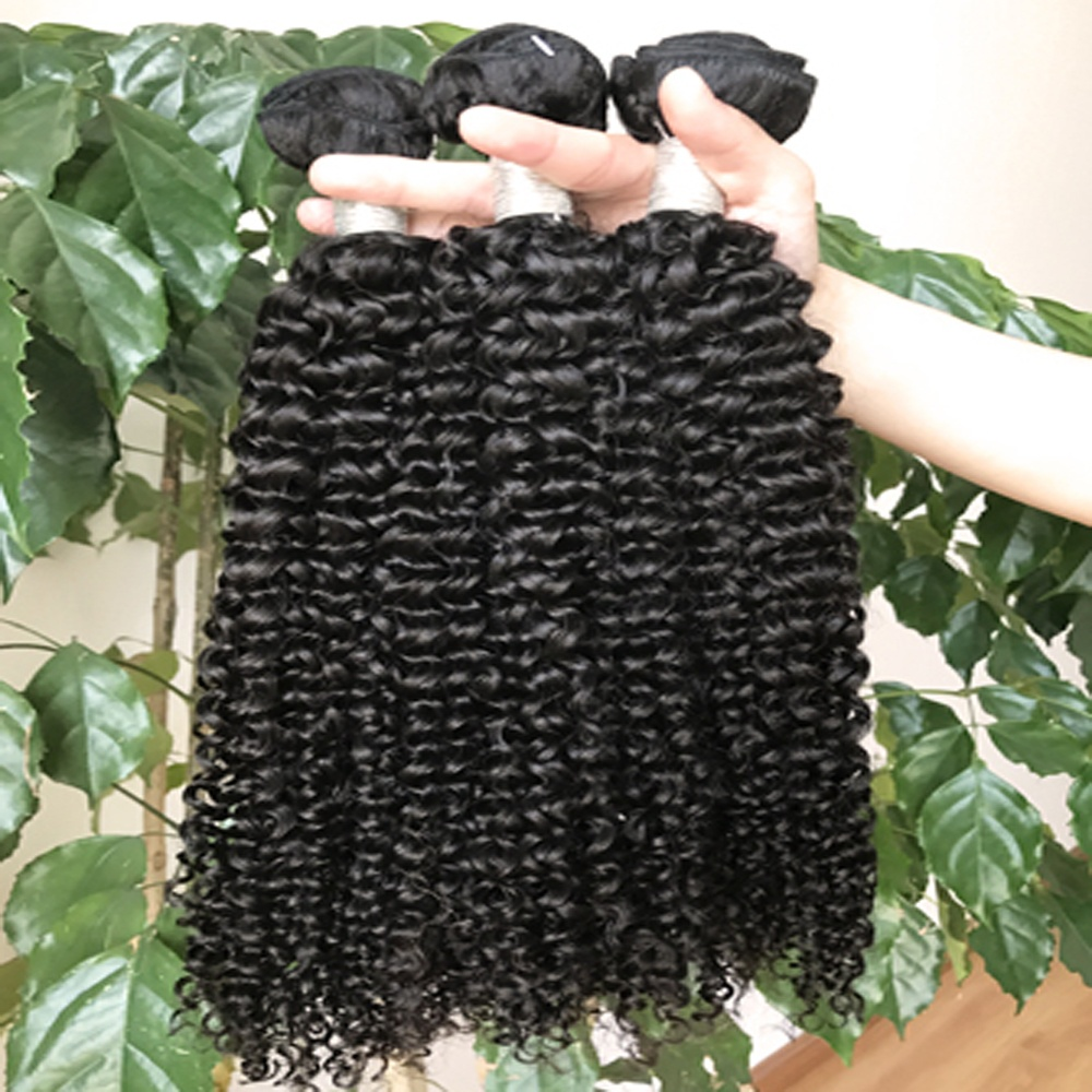Top Grade 10A Raw Indian Hair Unprocessed Virgin Jerry Curly Remy Human Hair Extensions, Natural color