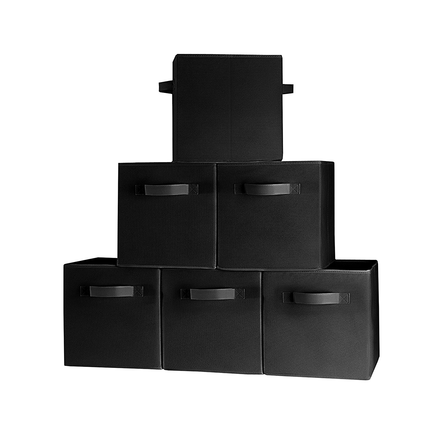 Get Quotations · (6 Pack, Black) Durable Foldable Storage Cubes With Two  Handles, Ideal