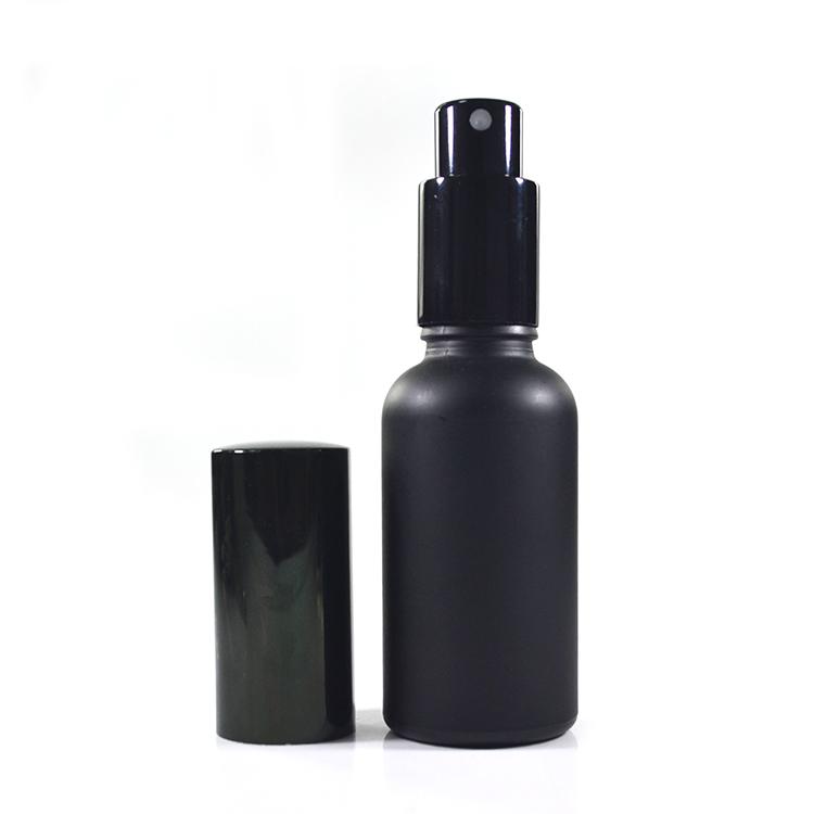 refillable 15ml 30ml 1oz 2oz 50ml 60ml matte black glass fine mist spray bottle with spray pump cap for hair spray
