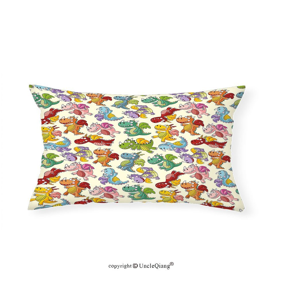 """VROSELV Custom pillowcasesChildren Baby Loving Cute Dangerous Happy Dinasours in Rainbow Colored Nursery Kids Print for Bedroom Living Room Dorm Multicolor(12""""x22"""")"""