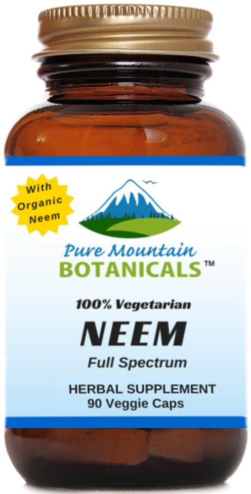 Full Spectrum Neem Capsules. 90 Kosher Vegetarian Pills. 500mg Organic Neem Leaf Powder Supplement