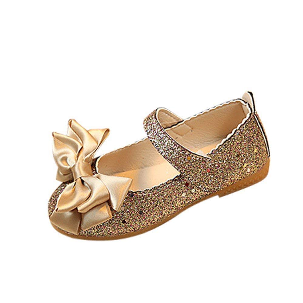 52c8a585bce5c Get Quotations · Jshuang Children s Girls Single Shoes Bright Leather  Princess Shoes Bow Sandals Shoes Flat Shoes Gold