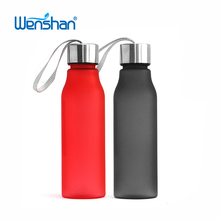drinking plastic water bottle with stainless steel lid,most popular bottle in 2018
