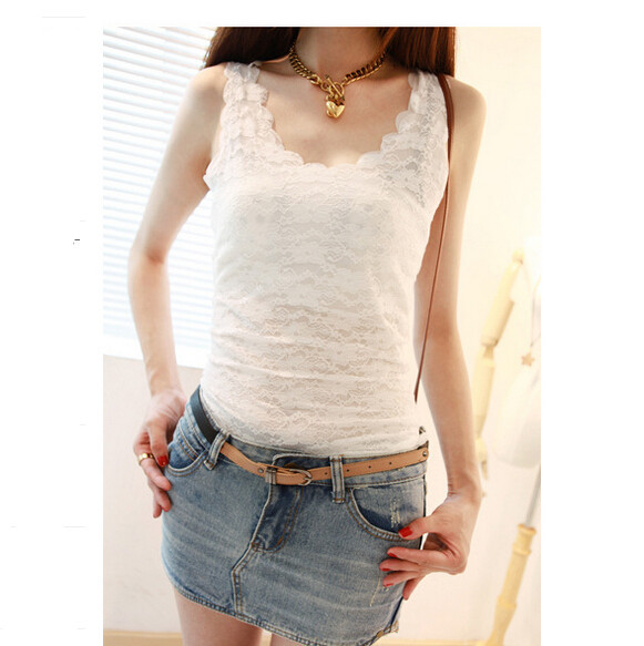 603066e065e885 Get Quotations · Lace Women Tank Top 2015 Summer Women Sleeveless Knitted Cotton  Lace Vest Ladies Basic Sleeveless Lace