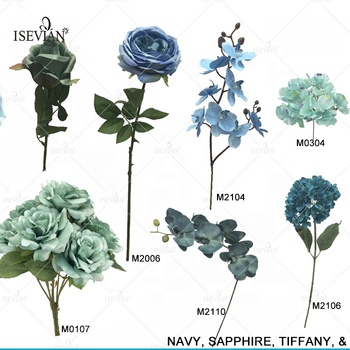 ISEVIAN High Quality Wholesale Wedding Flowers for Centerpiece Silk Blue Flowers