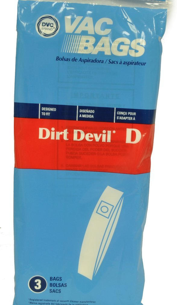 Dirt Devil Type D Upright Vacuum Cleaner Bags, DVC Replacement Brand, designed to fit Royal Dirt Devil Lite, Lite Plus, Extra & Classic Upright Vacuum Cleaners, 3 bags in pack