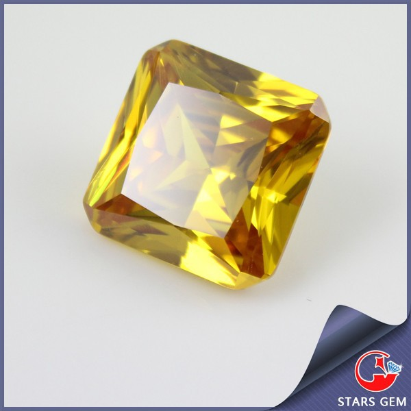 SQ gold yellow color cubic zircon stone, gold zircon