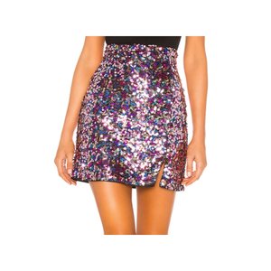 New design women skirts Allover Rainbow sequins skirts