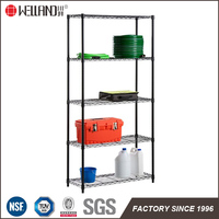 Black 5 Tiers Low Cost Steel Wire Shelving NSF Approval Display Rack