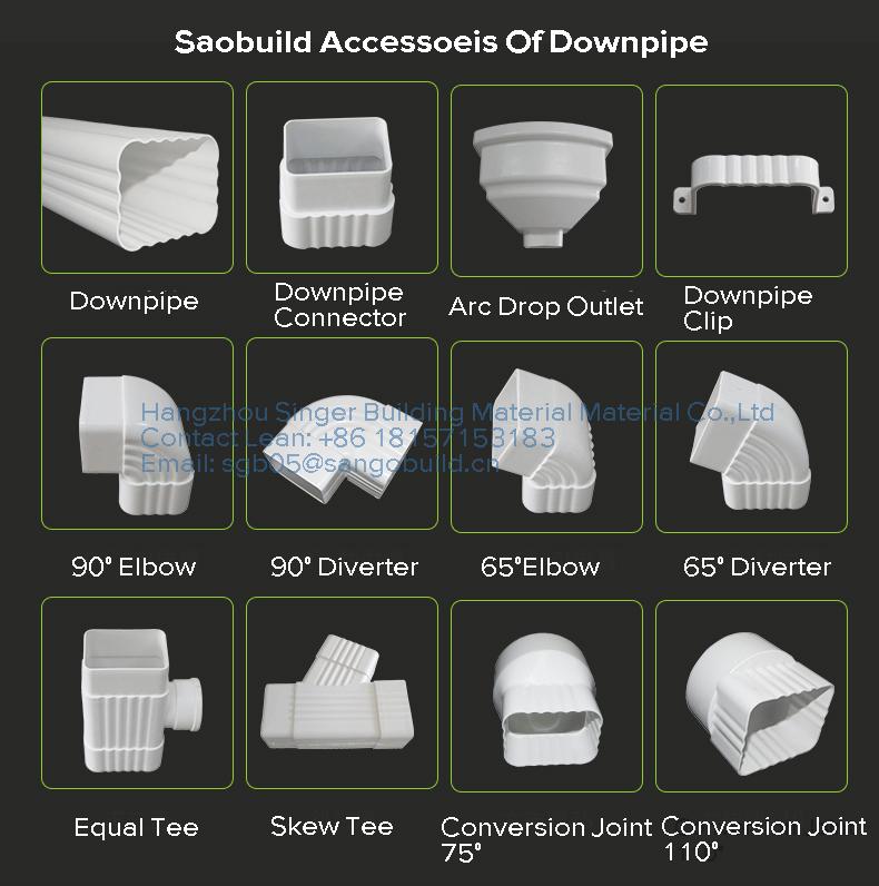 Customized Pvc Rain Gutter Downspout Accessories Downspout