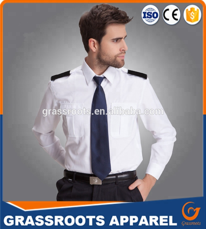 Guangzhou high quality best design security guard uniform mens long sleeve work wear white security jackets for male