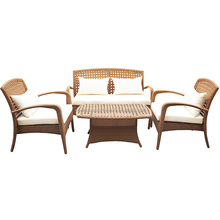 Modern Patio Plastic Wicker Sofa Set with Tea Table