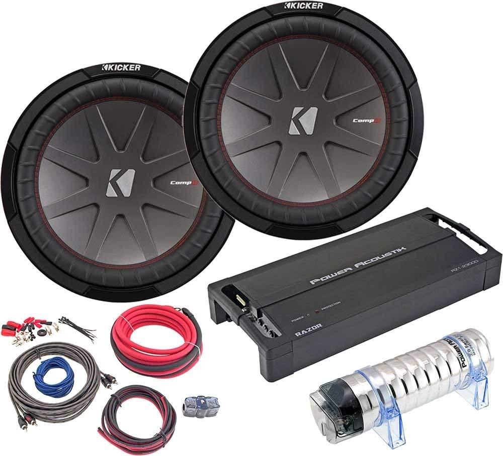 """Kicker Bundle of 5 Items 43CWR124 12"""" Car Subwoofer (Pair) w/Power Acoustik RZ1-2300D Mono Amplifier+AK-4 Kit+PC2.0F 2F Capacitor"""