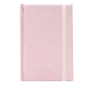 Wonderful cheap stationary A6 size eco cute rose gold glitter hard cover diary notebook with elastic band made in China